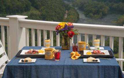 Breakfast on the deck overlooking the New River Valley of Virginia and the Appalachian Mountains.